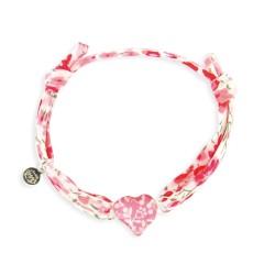 Bracelet Liberty bébé coeur framboise