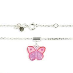 Pendentif et chaîne fine papillon