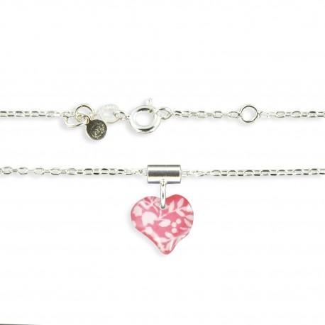 Pendentif et chaîne fine coeur framboise Ribambelle bijoux enfants fille