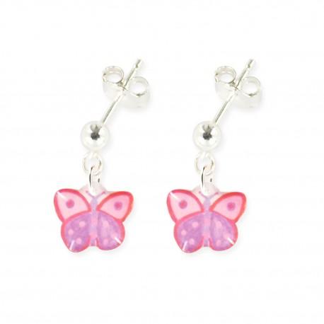 boucles d'oreilles pendantes papillon Ribambelle bijoux enfants fille