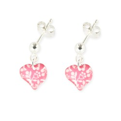 boucles d'oreilles pendantes coeur rose et vert Ribambelle bijoux enfants fille