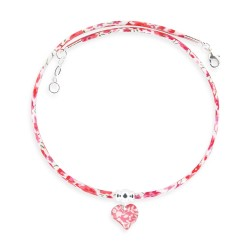 Collier Liberty coeur framboise