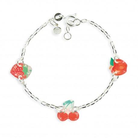 bracelet 3 motifs cerise Ribambelle bijoux enfants fille