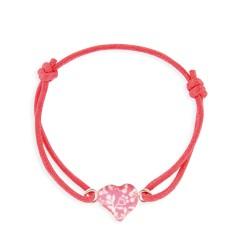 Bracelet lacet coulissant coeur framboise
