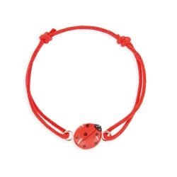 Bracelet lacet coulissant coccinelle