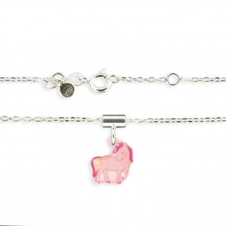 2 pendentifs et chaîne licorne