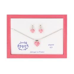 Coffret B.O. pendantes coeur framboise