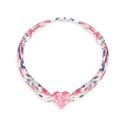 Bracelet Liberty coulissant coeur framboise