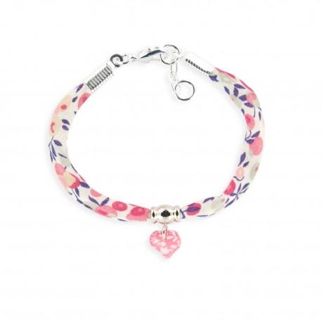 bracelet liberty coeur framboise Ribambelle bijoux enfants fille