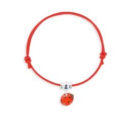 Bracelet lacet breloque coccinelle