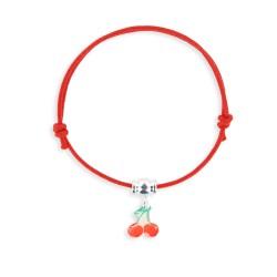 Bracelet lacet breloque cerise