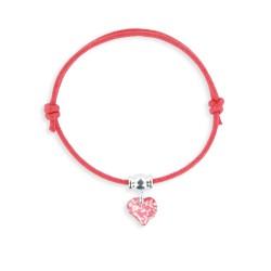 Bracelet lacet breloque coeur framboise