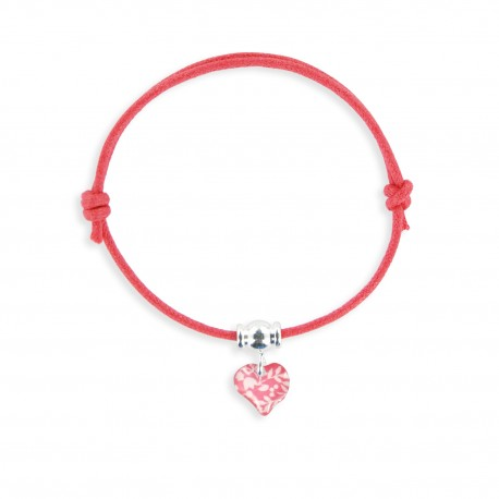 bracelet lacet coeur framboise Ribambelle bijoux enfants fille