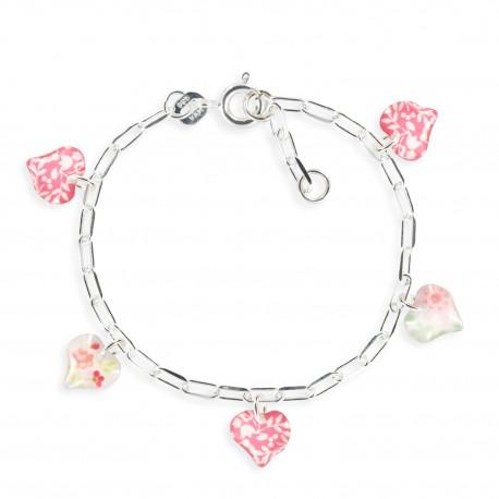 bracelet figaro coeur framboise Ribambelle bijoux enfants fille