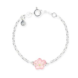 Bracelet chaîne bébé fleur rose