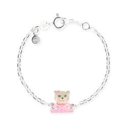 Bracelet chaîne bébé chat rose