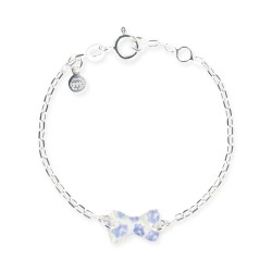 Bracelet chaîne bébé noeud bleu