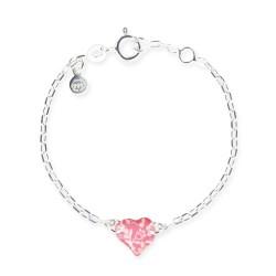 Bracelet chaîne bébé coeur framboise