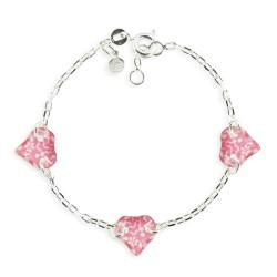 Bracelet 3 motifs coeur framboise