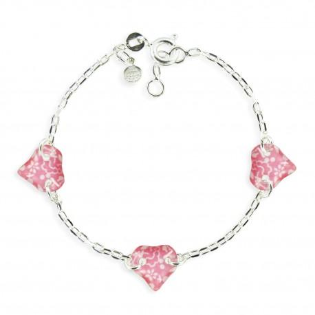 bracelet 3 motifs coeur framboise Ribambelle bijoux enfants fille