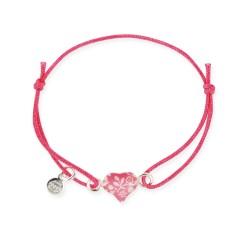 Bracelet lacet bébé coeur framboise